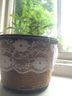 Lavender in a plastic pot. DIY garden string and a bit of lace