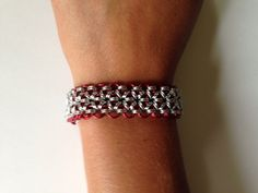 Red Snowflake Chainmaille Bracelet on Etsy, $70.00 CAD