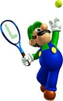 Luigi hitting a ball from the official artwork set for #MarioTennis on the #N64. #Mario #RPG. Visit for more info http://www.superluigibros.com/mario-tennis-64-artwork