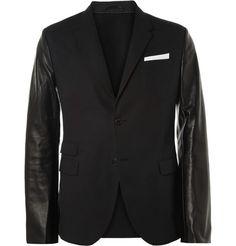 Neil Barrett Slim-Fit Leather-Sleeved Cotton-Blend Blazer | MR PORTER