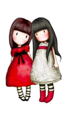 Gorjuss – Amiche in bianco e rosso – H Cute Images, Cute Pictures, Kawaii, Digi Stamps, Cute Illustration, Fabric Painting, Rock Art, Cute Cartoon, Cute Drawings