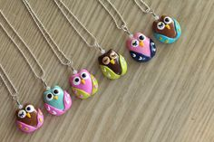 Polymer Clay Owl Pendant Necklace with Swarovski Elements Glass Beads. $15,00, via Etsy.