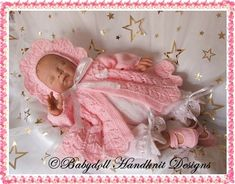 Scalloped Edge Matinee Set 16-22 inch dolls/0-3m baby-frilled, smocked, knitting pattern, doll, baby, matinee coat, bonnet