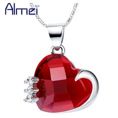 Find More Pendants Information about Almei Luxury Wholesale Love Statement Red Heart Necklace Pendant for Women Wedding Engagement Lovers Gift Ruby Jewelry N1140,High Quality pendant cable,China pendant lot Suppliers, Cheap pendant men from ULove Fashion Jewelry Store on Aliexpress.com