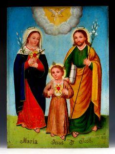 """""""Maria, Jesus y Jose"""" attr: Geronimo de Leon  Mexico  Oil on metal  Date: """"Octubre 28 de 1895"""""""