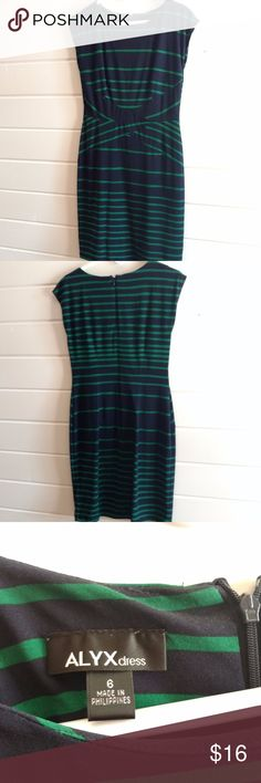 ALYX Navy green striped dress, size 6 ALYX navy dress with green stripes Very flattering design! Invisible back zip, stretchy fabric Worn once to graduation, no visible wear  Check out my other items, and feel free to make an offer! Alyx Dresses Midi
