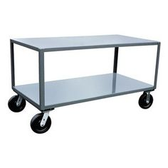 Mobile Table, Cap 4800 Lb, 2 Shelf, 30x36 by Jamco. $565.64. Mobile Table, Load Capacity 4800 lb., Overall Length 37 In., Overall Width 31 In., Overall Height 33 In., Caster Type 2 Rigid, 2 Swivel, Caster Material Phenolic, Caster Size 8 In. x 2 In., Number of Shelves 2Material Welded Steel, Gauge 12, Color Gray, Powder Coat Finish, Includes 2 Shelves