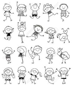 Drawing Sketch - Group Of Kids Royalty Free Cliparts, Vectors, And Stock Illustration. Image Drawing Sketch - Group Of Kids Royalty Free Cliparts, Vectors, And Stock Illustration. Easy Doodle Art, Doodle Art Drawing, Drawing For Kids, Drawing Sketches, Art For Kids, Art Children, Children Drawing, Sketching For Kids, Doodle Ideas