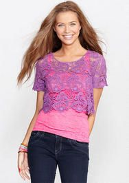 Crop Lace Short Sleeve 9.99