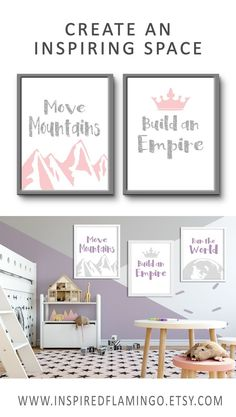 Give your little girl a daily boost with these inspirational quotes, reminding her that she can achieve anything. Available in custom colours and sizes to match your bedroom decor. Click through to see the full collection of prints in our Etsy shop Purple Nursery Decor, Baby Girl Nursery Decor, Nursery Wall Decor, Bedroom Decor, Girls Bedroom, Playroom Decor, Kids Decor, Decor Ideas, Playroom Ideas