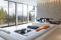 Sunken living room idea...note the 2 way fireplace