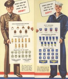 Greyhound: On the Road through WWII and Beyond - Wartime Greyhound route maps featured handy guides to help customers identify army and navy personnel by rank : gautierandcharles Ww2 Posters, Poster Ads, Vintage Comics, Vintage Posters, Navy Ranks, Patriotic Images, Navy Chief, Looks Cool, World War Ii