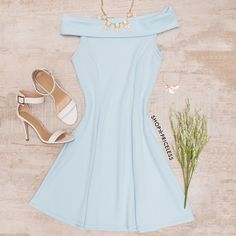 Merida Off The Shoulder Dress - Blue