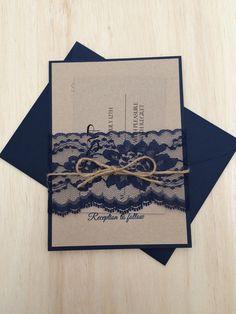 Rustic wedding invitation navy blue wedding by WeddingSpecialties