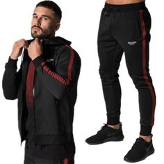 81ed8e8c78b Winter Sport Suits Men Hoodies Sets M-2XL Fashion stitching Mens Gym  Sportswear Running Jogging Suit Male Tracksuit