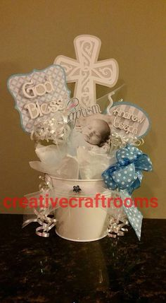 Baptism Centerpiece Christening Centerpieces by CreativeCraftRooms