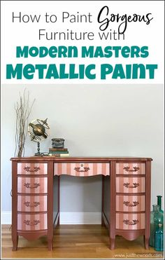 How to Paint Furniture with Modern Masters Metallic Paint Modern Masters metallic paint adds a gorgeous shimmer to your painted furniture. See how to paint with metallic copper paint and rose gold metallic paint stripes. Metallic Painted Furniture, Chalk Paint Furniture, Diy Furniture Projects, Metal Furniture, Furniture Makeover, Cool Furniture, Refinished Furniture, Victorian Furniture, Furniture Refinishing