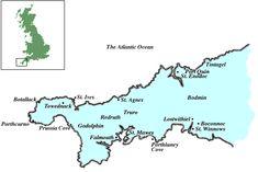 Map of Cornwall Cornwall Map, Poldark, Atlantic Ocean, Houses, Homes, Home, House