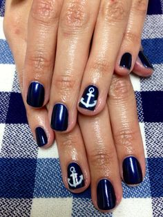 "Instagram @emazingmani Ahoy matey! Nautical inspired anchor nail art essie gel freehand nail art ""slipdress"" gel color nailsbyemilyHIGGINS"