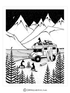 Camping With Dogs Art Print. Gallery quality Giclee print on natural white, matte, ultra smooth, 100% cotton rag, acid and lignin free archival paper using Epson K3 archival inks. Custom trimmed with