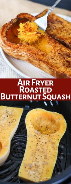 Air Fryer Butternut Squash is a delicious healthy meal or side dish! Taking just fraction of the time in the air fryer, this will become a family favorite! Only 151 calories per half squash serving!!!