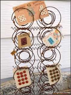 Button Floozies: Great display for ho-hum buttons on cards using a section of old mattress springs. Rust is a matter of taste! Bed Spring Crafts, Spring Projects, Spring Art, Diy Projects, Old Mattress, Mattress Springs, Rusty Bed Springs, Crib Spring, Old Beds