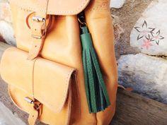 Handmade Keychain / Green Leather Tassel Key Chain / by Twininas Leather Backpack, Leather Bag, Leather Tassel Keychain, Bag Clips, Handmade Jewellery, Green Leather, Key Chain, Leather Sandals, Bag Accessories