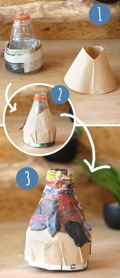 Den Vulkan besteht aus einer kleinen Flasche, Zeitungspapier und Knete. In die Flasche wird später Natron und Säure eingefüllt. Schaue das Video auf familienfuchs.de und du wirst erstaunt sein!