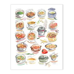 Soups & Stews from around the world. Watercolor print