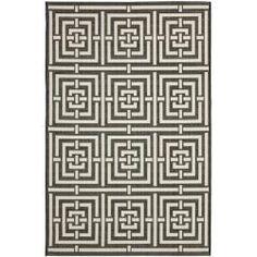 Poolside Black/ Bone Indoor Outdoor Rug (6'7 x 9'6) | Overstock.com Shopping - Great Deals on Safavieh  - 6x9 Rug ~ 130.00