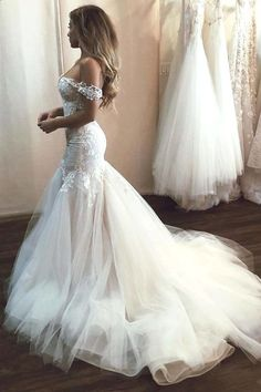 Off the Shoulder Mermaid Tulle Wedding Dresses Lace Appliques Bridal Gown uk on . Off the Shoulder Mermaid Tulle Wedding Dresses Lace Appliques Bridal Gown uk on sale – PromDress. Irish Wedding Dresses, Wedding Dress Trends, Bridal Dresses, Wedding Gowns, Beaded Dresses, Backless Wedding, Modest Wedding, Lace Wedding, Wedding Ideas