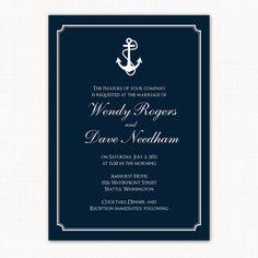 nautical themed wedding invitation - anchors away