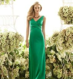 The hottest bridesmaid dress trends for 2013. Emerald green vee satin dress
