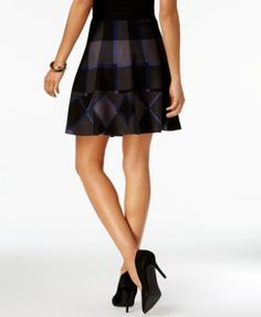 Olivia & Grace Printed Fit & Flare Skirt, Created for Macy's - Black Grey Red Combo XS