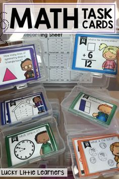 This math resource provides you with fourteen different sets of math task cards. These resources come with a full color version and black and white version for your printing needs. It also includes a student response sheet and answer key.  Skills included in this bundle are addition, subtraction, fact families, missing addends, money, time, fractions, geometry, graphing, place value, and 2-digit addition and subtraction (with and without regrouping).  Perfect for 1st and 2nd grade math!