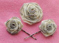 Zipper Rosette brooch & Hair grips  By Habercraftey