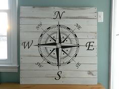Nautical Compass Statement Piece~ x Reclaimed Wood Wall Hanging Nautical Compass, Nautical Theme, Compass Rose, My New Room, Coastal Decor, Wooden Signs, Wood Projects, Woodworking Projects, Just For You