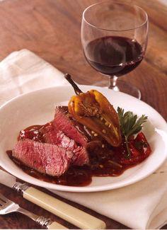 Pepper Steak PER SERVING- 326 cal 8.3g fat 31g protein 31g carbohydrates 78mg cholesterol 5g fiber 651mg sodium