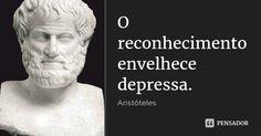 O reconhecimento envelhece depressa. — Aristóteles