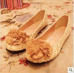 flower sweet princess lace flats shoes