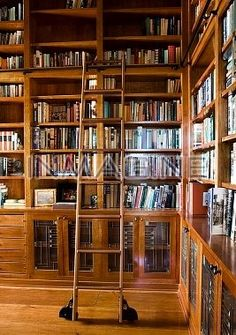If I had book cases this tall I would spend hours reorganizing the books every time I cleaned the room.