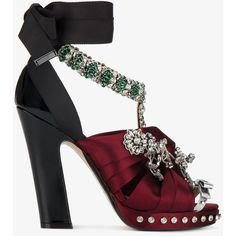 Nº21 Crystal Embellished Satin Bow Sandals ($1,310) ❤ liked on Polyvore featuring shoes, sandals, thick heel sandals, brown peep toe sandals, brown sandals, patent leather shoes and chunky heel platform sandals