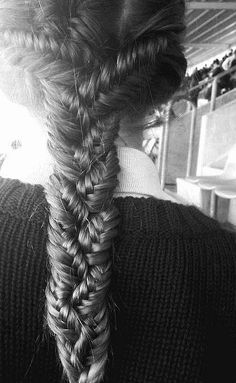 three fishtails into one braid..beautiful