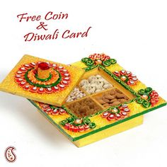 Yellow mini storage box with lid in wood and clay - Online Shopping for Diwali Sweet Hampers by Apno Rajasthan