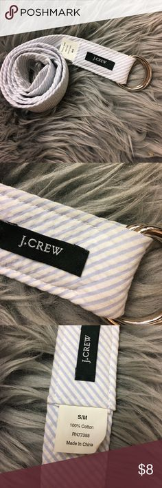 J. crew Blue and White Striped Cotton Belt Great condition. Plain striped belt made of 100% cotton. Size S/M J. Crew Accessories Belts