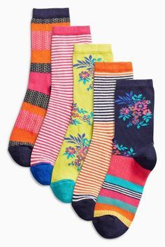 Buy Multi Bright Pattern Floral Ankle Socks Five Pack online today at Next: United States of America Cute Socks, My Socks, Baby Swimsuit, Ladies Socks, Women Socks, Ankle Socks, Latest Fashion For Women, Outfit Sets, Color Combos