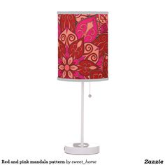 Red and pink mandala pattern table lamp  #Home #decor #Room #Interior #decorating #Idea #Styles #Traditional #Boho #Indian #Vintage #floral #motif