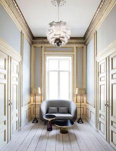 Kopenhagen Fur in grey and gold. Interior Design: Helle Flou.