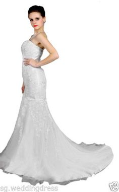 FairOnly Lace Mermaid White Wedding Dress Bridal Gown Stock Size6 8 10 12 14 16