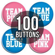 Team Pink & Team Blue Sporty Gender Reveal Baby Shower Button Badges - 100 Pack